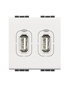 LivingLight lader 2x USB-poorten Type A 2400 mA - 5V - 2 modules - Wit
