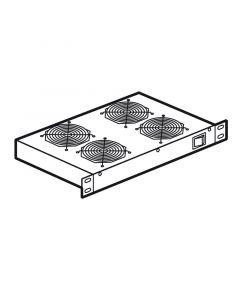 """19"""" LCS² vloerkasten - thermisch beheer - verdeelschuif 1U met 4 ventilatoren - Diepte 300 mm"""