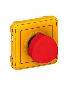Plexo vuistknop met kwart 10a 250v samenstelbaar geel