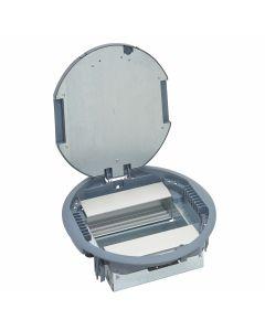 Dekselset rond - kunststof - deksel RAL7031 grijs - met tapijtrand - voor inbouw verticaal 12-16 modules (afhankelijk van configuratie schakelmateriaal) - met inbouwframe met lege inbouwunits - voorzien met Mosaic  - voor betonvloer (chape) of verhoogde (
