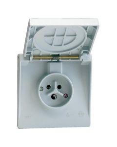 Waterdichte contactdoos 2P+A 16A IP44 gr