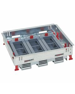 Inbouwframe met lege inbouwunits 3x6 modules - voor dekselset tapijtrand - voor horizontale plaatsing schakelmateriaal (Mosaic) - direct in verhoogde vloer  - betonvloer met instortdoos (ref. 088091 of 088080+088082)