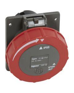 Inbouwcontactdoos 32A - 3h - 440V - 3P+A - CEE - IP66/67-55 - kunststof - Hypra - koelcontainer