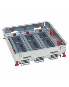 Inbouwframe met lege inbouwunits 3x8 modules - voor dekselset tapijtrand - voor horizontale plaatsing schakelmateriaal (Mosaic) - direct in verhoogde vloer  - betonvloer met instortdoos (ref. 088092 of 088080+088083)